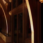 Floor lighting illuminating wooden columns