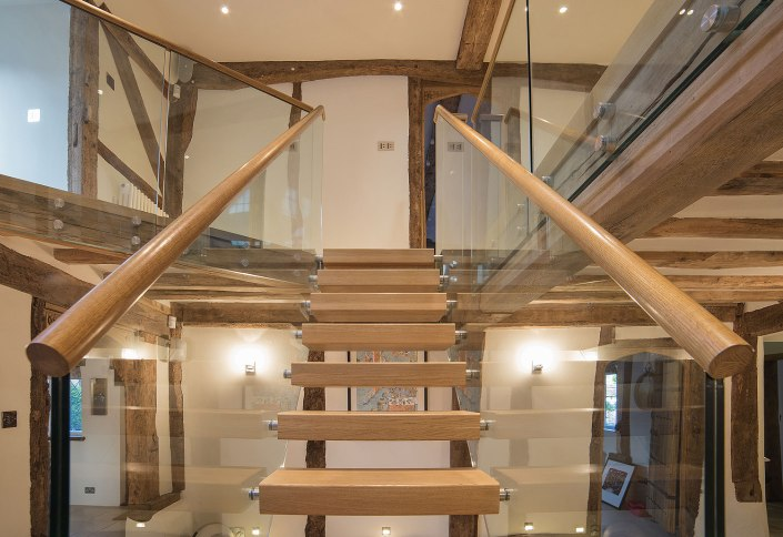 Wood and glass stairway