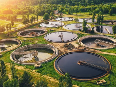 Aerial view of a wastewater treatment facility showcasing trickling systems