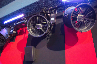 Fans mounted on the side walls, used to generate wind effects.