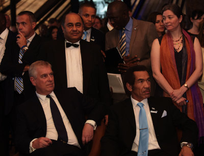 Videovision's Sanjeev Singh with Prince Andrew and President Ian Khama