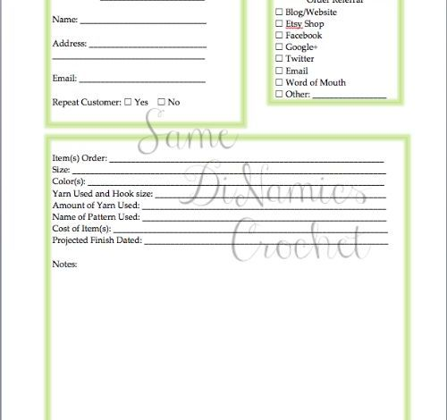 Free Client Item Request Form for Crocheters Who Sell Their Items
