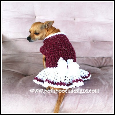 Winter Berry Dog Sweater Dress