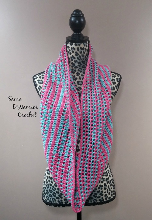 Candy Stripes Cowl Pink and Green Long