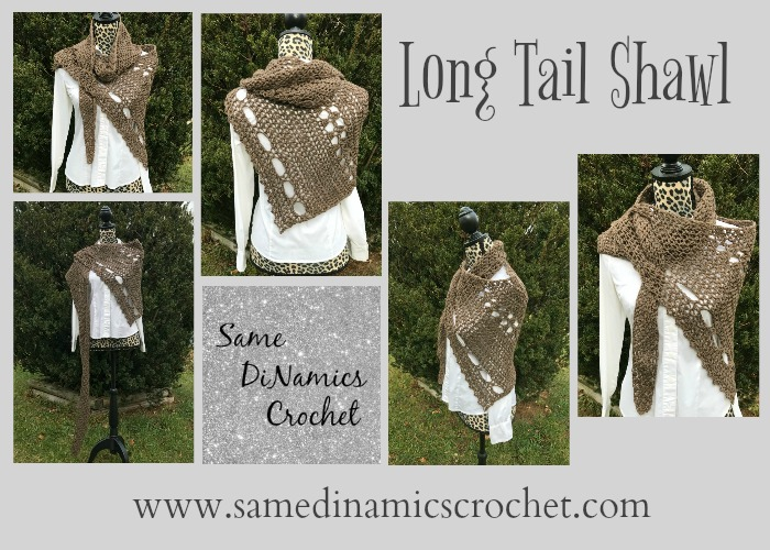 This Long Tail Shawl features an asymmetrical shape with openings to weave in the end in place when styling.