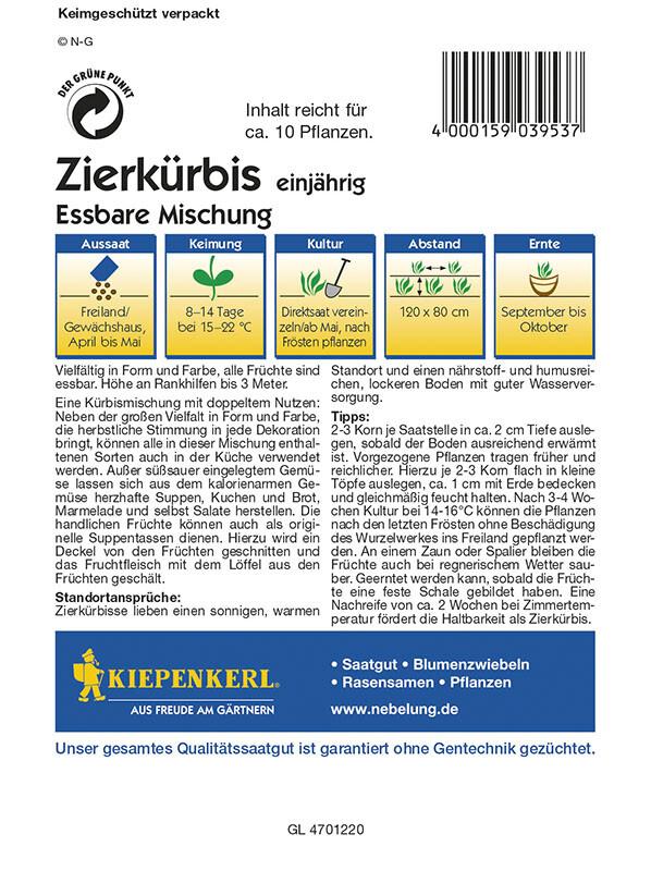 Cucurbita pepo Zierkrbis Essbare Zierkrbismischung  Samenshop24