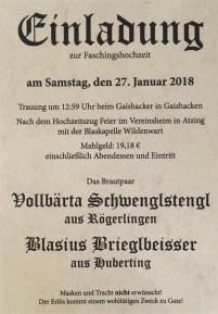 Einladung Faschingshochzeit