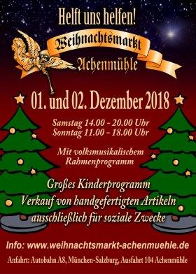 Flyer Weihnachtsmarkt Achenmuehle Vorderseite DinA6