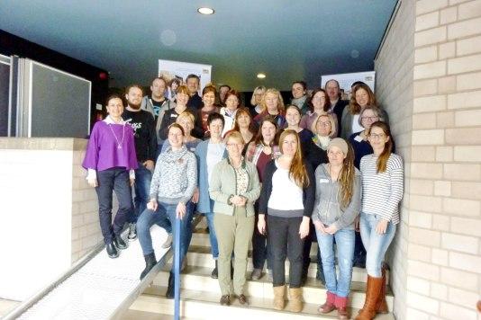 Die Teilnehmer des Seminars Soziale Landwirtschaft mit Seminarleiterin Claudia Opperer und Werner Vollbracht, sowie Referenten Sieglinde Bittl, Irmgard Kuhn, Ulrike Buchner bei der ersten Veranstaltung in Rummelsberg.