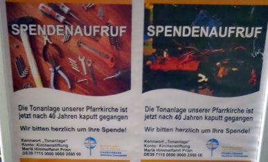Plakat Spende Tonanlage Kirche