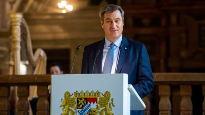 Bayerns Ministerpraesident Markus Soeder empfaengt am Donnerstag (08.07.21) in der Bayerischen Staatskanzlei in Muenchen den EU-Binnenmarktkommissar Thierry Breton.