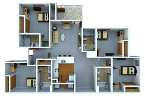 4 Bed / 4 Bath / 341 sq ft / Rent: $520 per bedroom