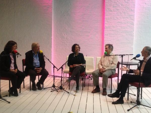 Recording on stage at the Theatre Royal Stratford East (l-r) Erica Whyman,Michael Billington,SamiraAhmed,David Kynaston,Murray Melvin