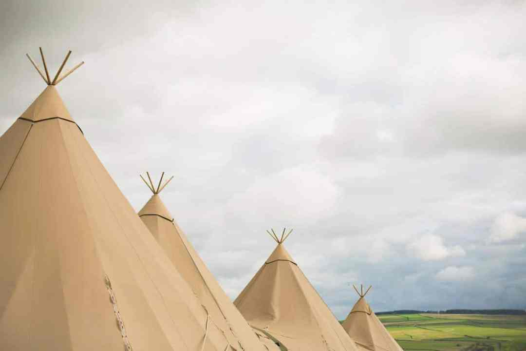 Sami Tipis all in a row at Peak District Farm Captured by Becky Armstrong