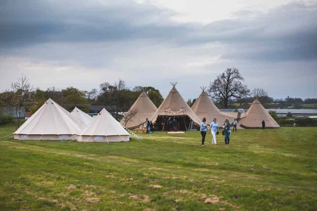 Three Giant hat Tipis and chill-out - Sami Tipi Starlight Social captured by Christopher Terry