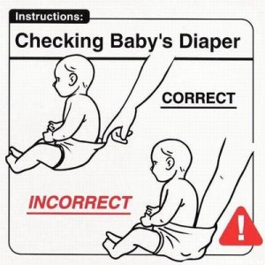 checking baby diaper