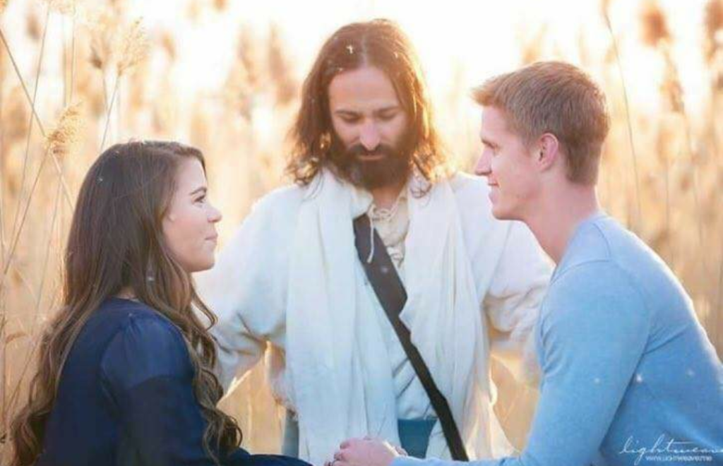White Jesus Joins Mormon Couple's Engagement Photos and the Internet Comments Are Everything