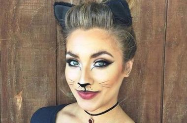 woman dressed as sexy kitten for halloween