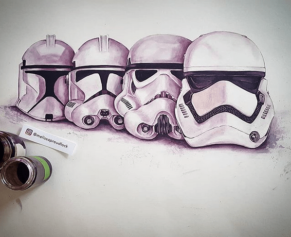 storm trooper wine painting by Melissa Proudlock artist uses wine to paint portraits by Sammiches and Psych Meds