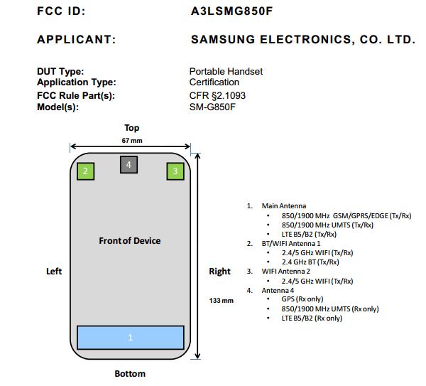 Samsung Galaxy Alpha (SM-G750F) stops by the FCC