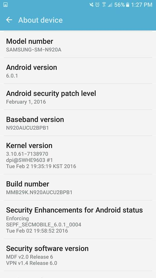 Samsung Galaxy Note 5 (SM-N920A) AT&T Android 6.0 Marshmallow Beta Update