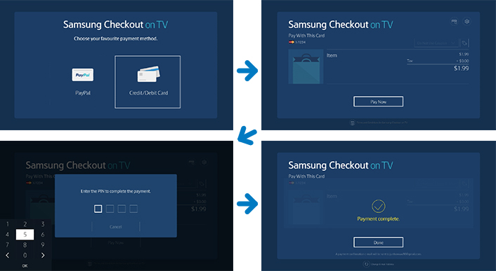 Samsung Checkout on TV is a native twostep payment system