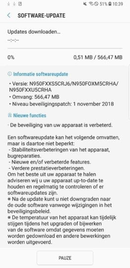 Galaxy Note 8 November security patch