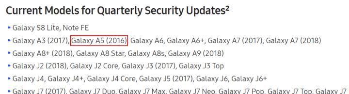 samsung quarterly updates list with galaxy a5 2016