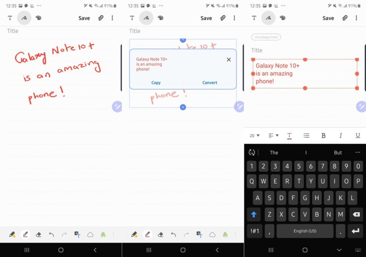 galaxy note 10 handwriting recognition
