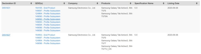 Samsung Galaxy Tab Active 3 Bluetooth Certification