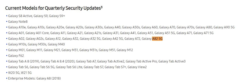 Samsung Galaxy A82 5G software update schedule