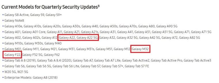 Samsung Galaxy A22 5G, M32, F22 Software Update Schedule