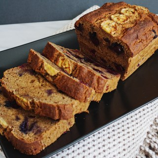 Fat-free Blueberry Banana Bread (Vegan + Gluten-free + Oil-free)