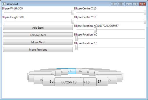 3D Elliptical Layout Panel Demo