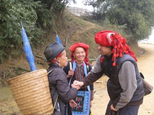 Paul Greeting Red Szao Women in Northern Vietnam