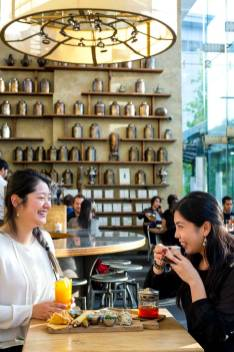 Two women share the afternoon at Samovar Teahouse in Yerba Buena Gardens San Francisco