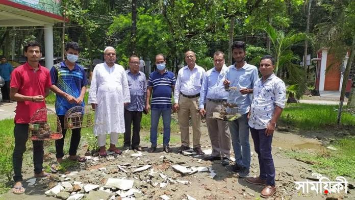 Patuakhali Photo Thirteen natural birds freed from captivity at Patuakhali 1 1 পটুয়াখালীতে ১৩ টি দেশীয় পাখিকে বন্দিদশা থেকে মুক্তি