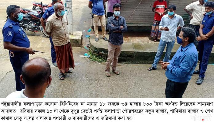 Barishal Photo Total lockdown going on in different areas of Patuakhali district monitored by 56 mobile courts and law enforcers 3 পটুয়াখালীতে লকডাউন লঙ্ঘন: ৪৩৪ মামলায় পৌনে ৩ লাখ টাকা জরিমানা