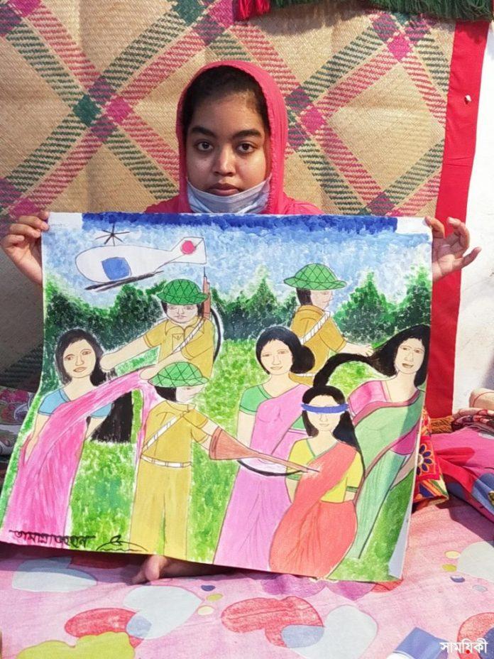 Barishal Photo Paintings drawn by deafdumb and autistic youth Tamanna Zahan 3 বাক্ ও শ্রবণপ্রতিবন্ধী এক অটিষ্টিক চিত্রকর তামান্না জাহান