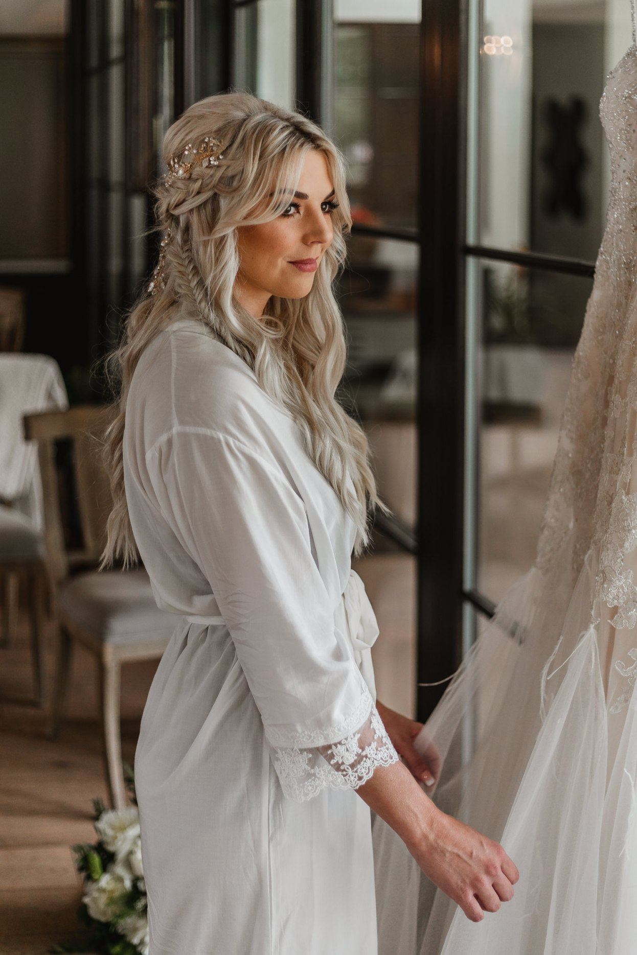 Gorgeous bridal gown details with beautiful bride.