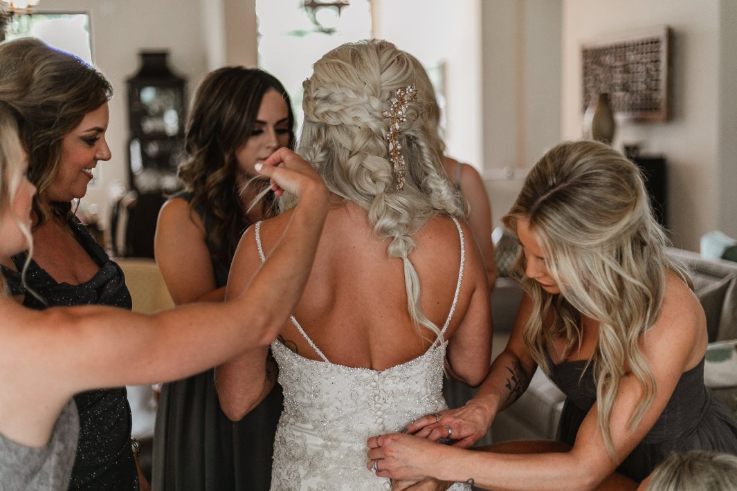 Bride and bridesmaids special moments.