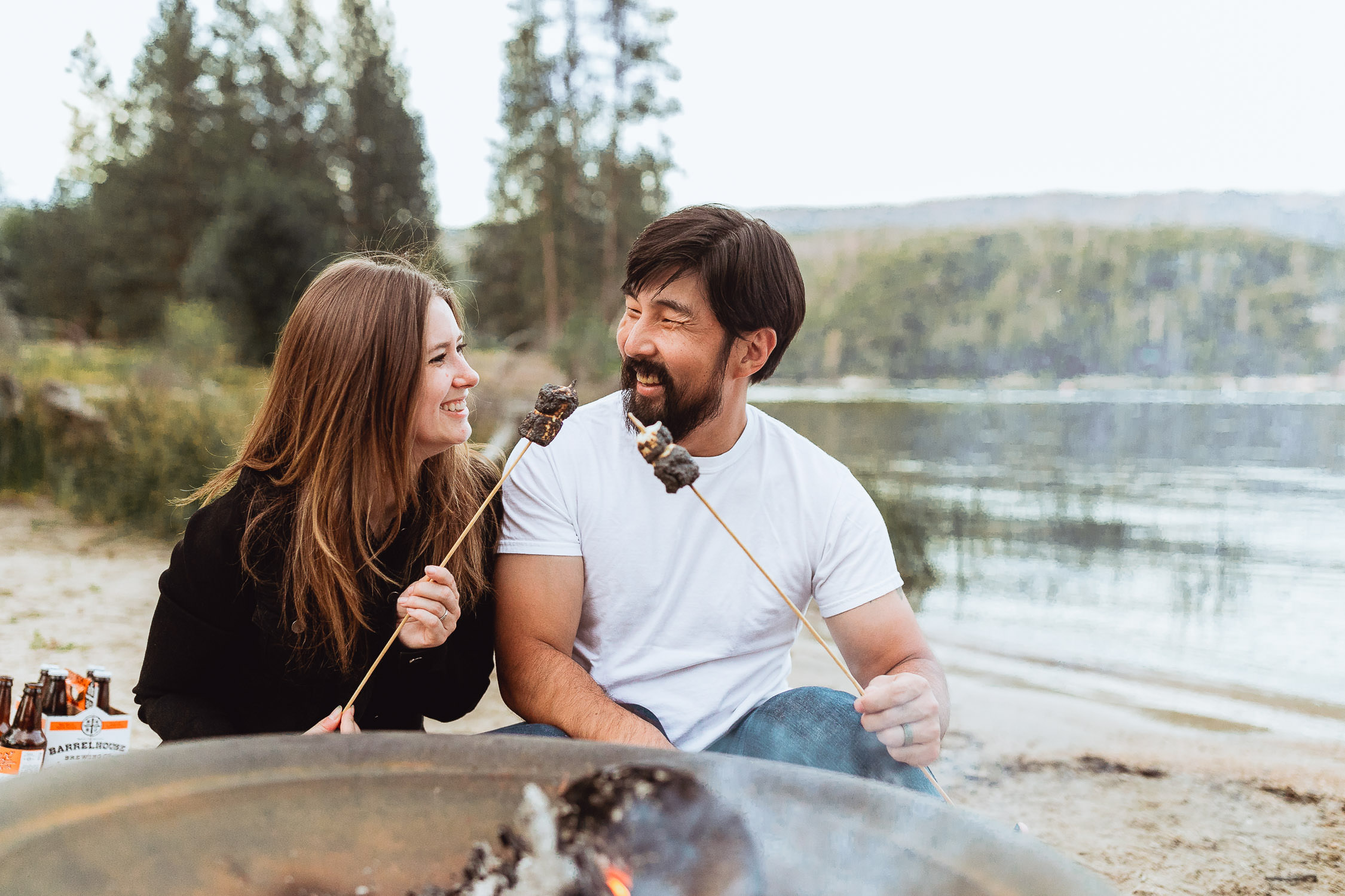 Dusky Campfire Couples Session in Bass Lake California