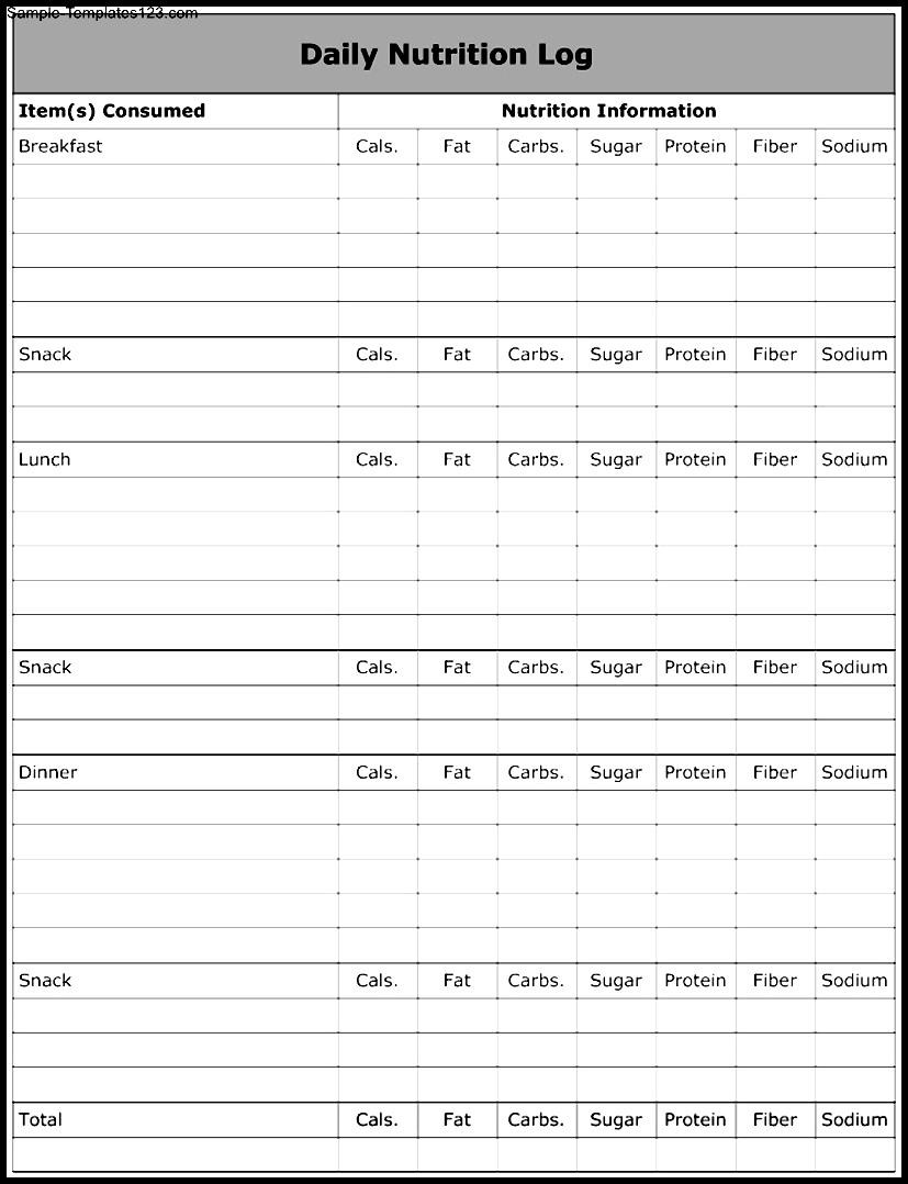 Daily Nutrition Log - Daily Nutrition Log Template Sle Templates Sle . Daily  Nutrition Log Chiropractic