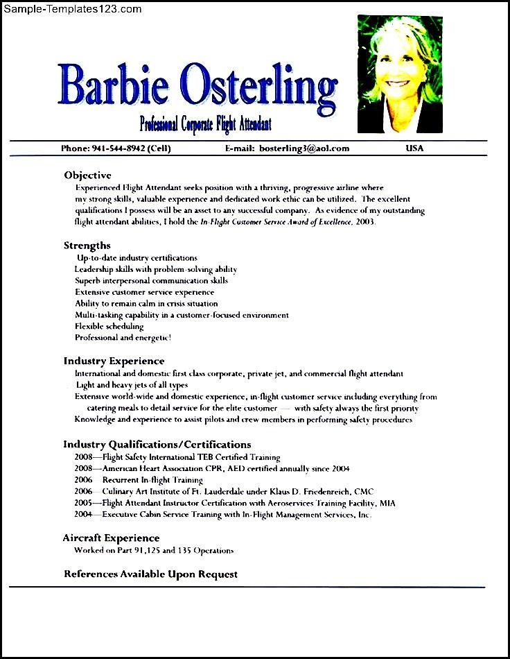 Resume For A Flight Attendant. flight attendant resume sample ...