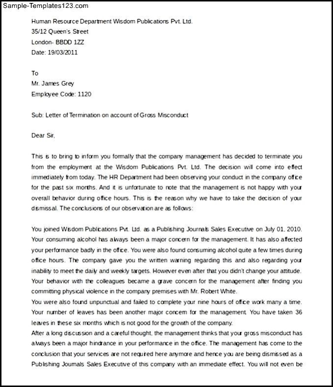 Sample termination letter gross misconduct newsinvitation free employee termination letter for gross misconduct spiritdancerdesigns Image collections