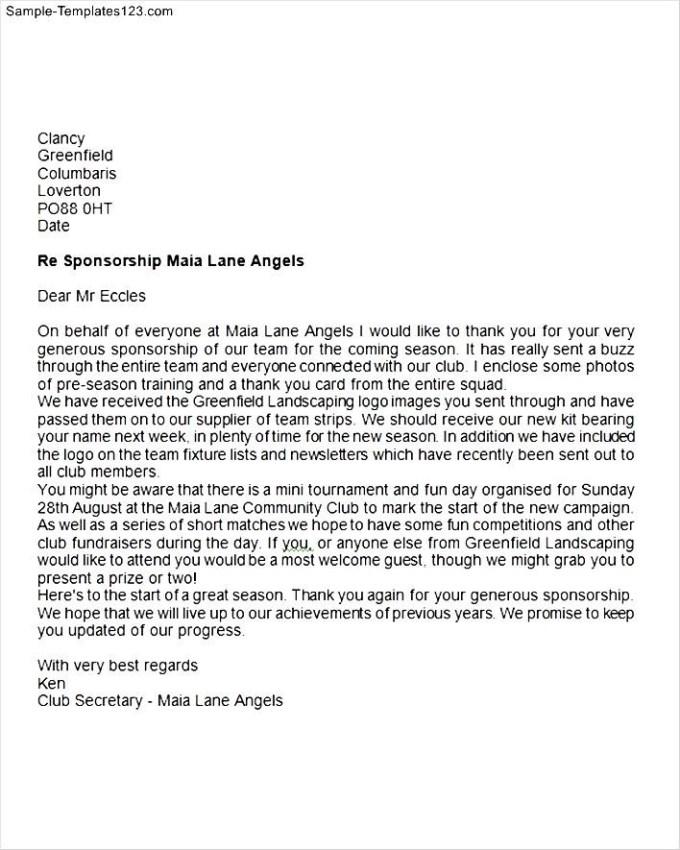 Sponsorship Thank You Letter Sample   Sponsor Thank You Letter Samples Save Template