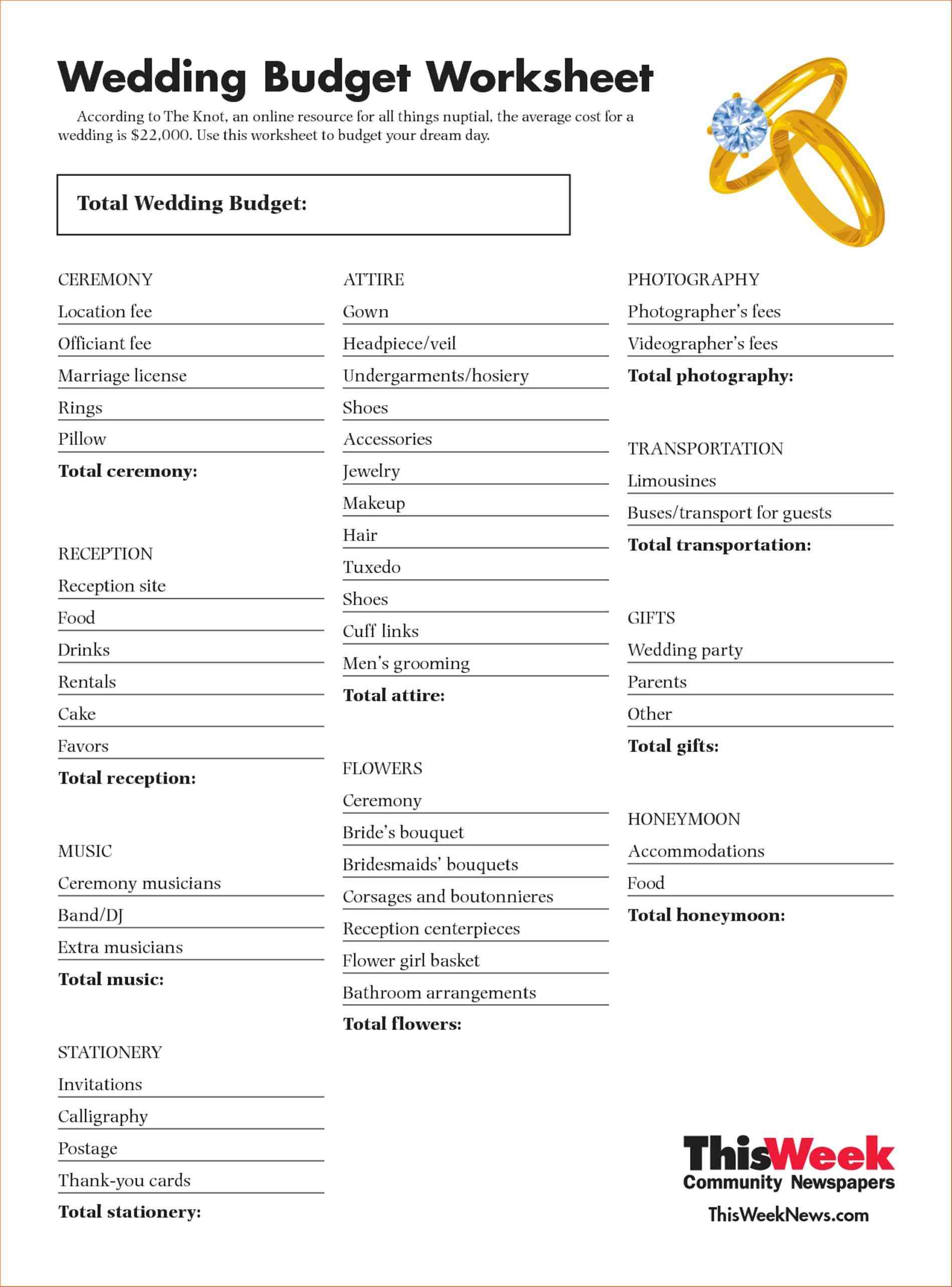 Wedding Event Expense Calculator Worksheet