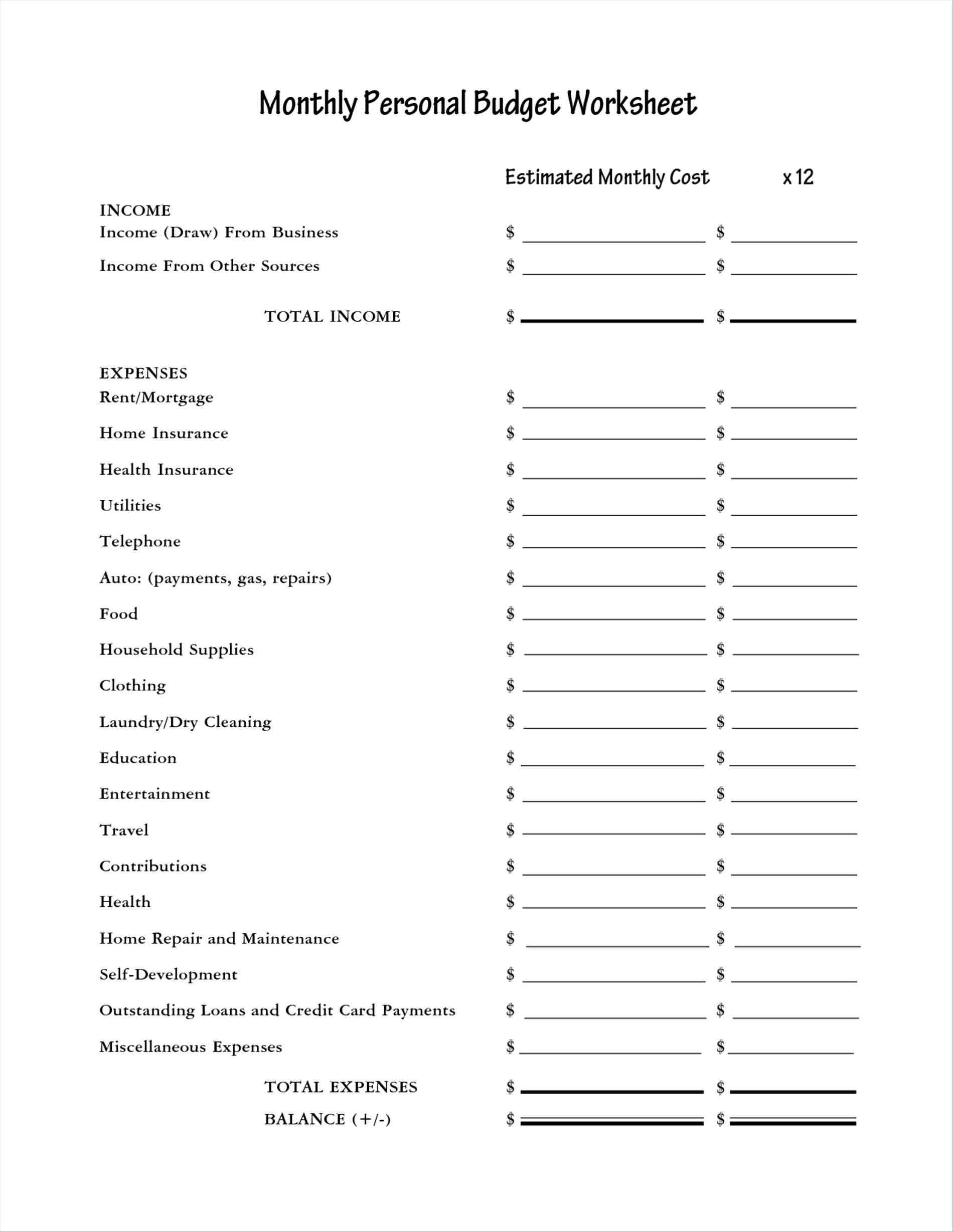 Family Monthly Expense Calculator Worksheet