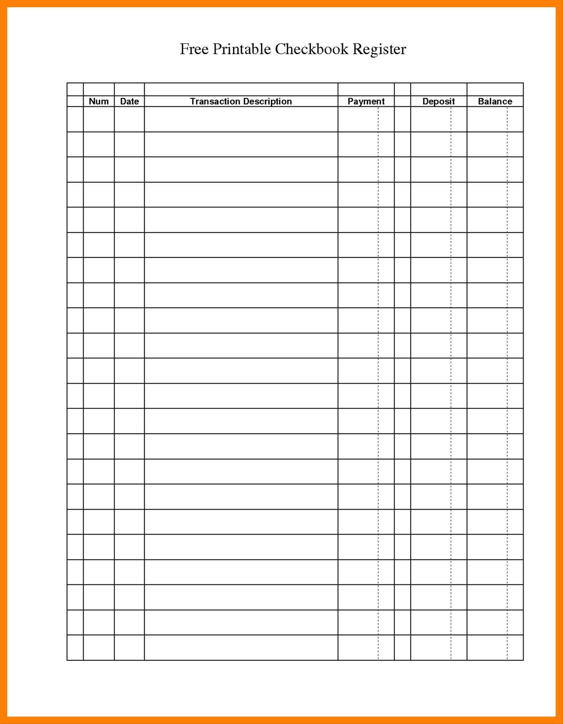 Check Register Balance Sheet