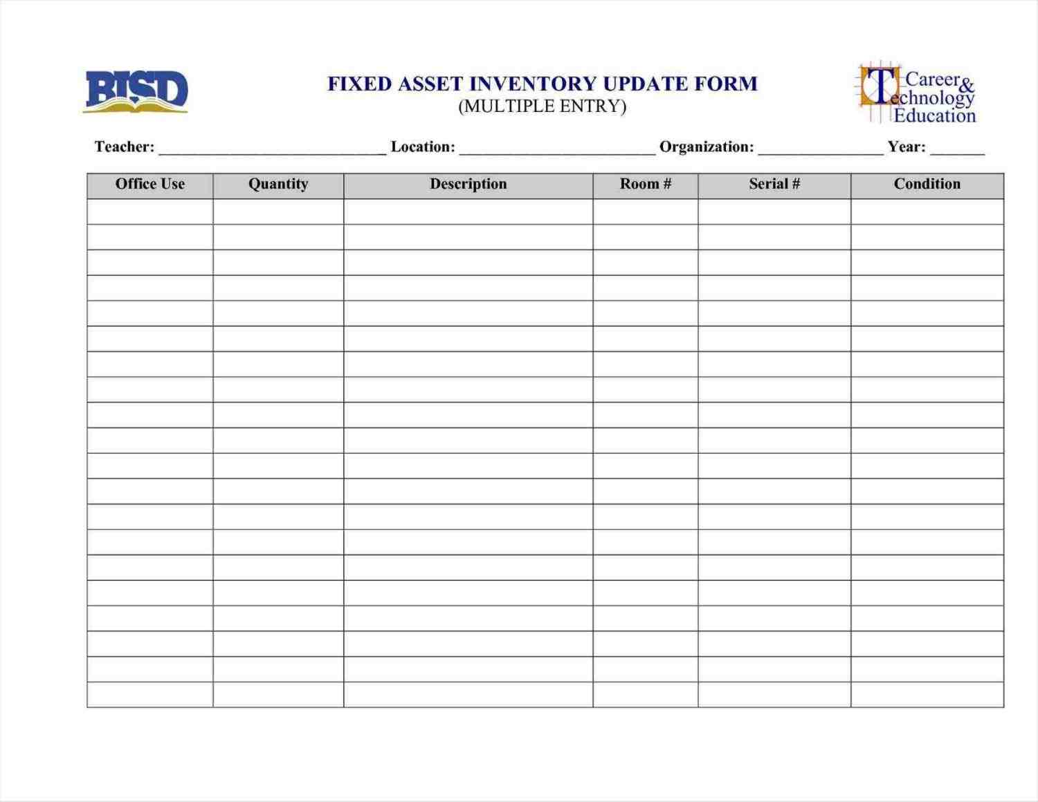 Fixed Asset Register Excel Template